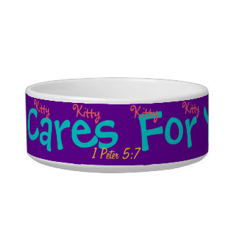 Pretty kitty cat dish He cares for you verse!