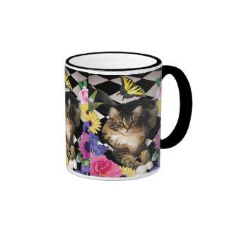 Pretty kitty cat in fantasy garden mug
