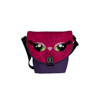 Pretty Kitty Cat Pink Fur Look Girl's Messenger Bags