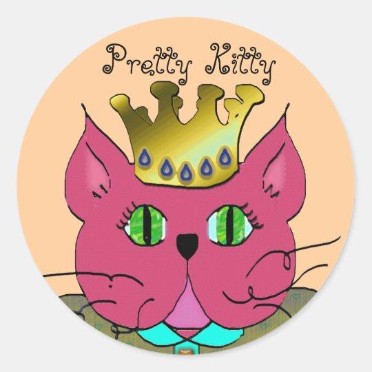 pretty kitty classic round sticker