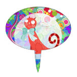 Pretty Kitty Crazy Cat Lady Gifts Vibrant Colorful Cake Topper
