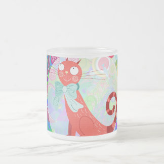 Pretty Kitty Crazy Cat Lady Gifts Vibrant Colorful Frosted Glass Coffee Mug