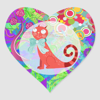 Pretty Kitty Crazy Cat Lady Gifts Vibrant Colorful Heart Sticker