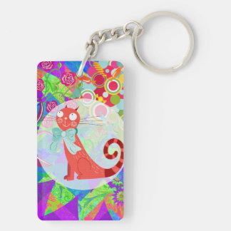 Pretty Kitty Crazy Cat Lady Gifts Vibrant Colorful Keychain