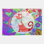 Pretty Kitty Crazy Cat Lady Gifts Vibrant Colorful Hand Towels