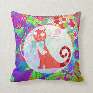 Pretty Kitty Crazy Cat Lady Gifts Vibrant Colorful Pillow