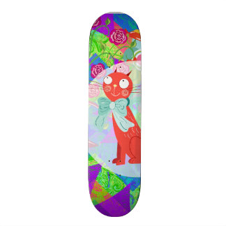 Pretty Kitty Crazy Cat Lady Gifts Vibrant Colorful Custom Skateboard