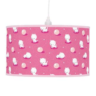 Pretty Kitty Pink Kittens Pattern Hanging Lamp