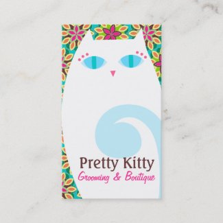 Pretty Kitty White & Floral Business Card