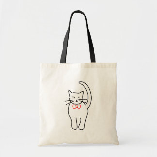 Pretty Kitty With Red Bow Tote Bag