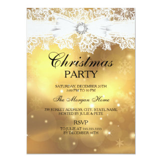 Pretty Lace & Bow Gold Christmas Holiday Invite