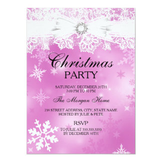 Pretty Lace & Bow Pink Christmas Holiday Invite