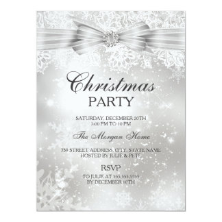 Pretty Lace & Bow Silver Christmas Holiday Invite