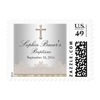 Pretty Lace & Cross Baptism Postage Stamp