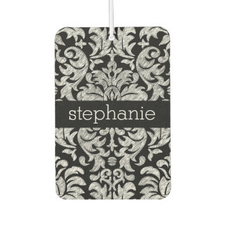 Pretty Lace Damask Pattern Black and White Air Freshener