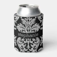 Pretty Lace Damask Pattern Black and White Can Cooler