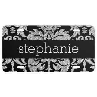 Pretty Lace Damask Pattern Black and White License Plate