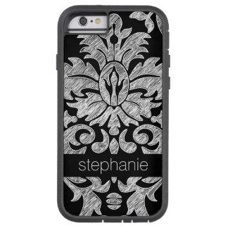 Pretty Lace Damask Pattern Black and White Tough Xtreme iPhone 6 Case