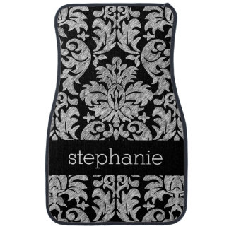 Pretty Lace Damask Pattern Black and White Floor Mat