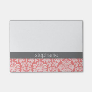 Pretty Lace Damask Pattern Coral Gray Post-it® Notes