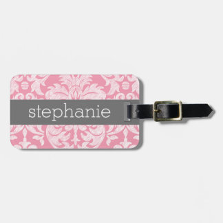 Pretty Lace Damask Pattern Pink Gray Luggage Tag