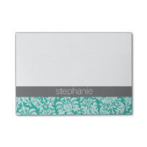 Pretty Lace Damask Pattern teal green and Gray Post-it® Notes