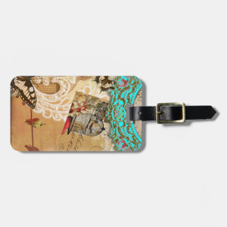 Pretty Lace Edge Vintage Butterfly Turquoise Sepia Bag Tag