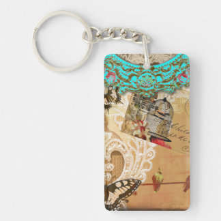 Pretty Lace Edge Vintage Butterfly Turquoise Sepia Keychain