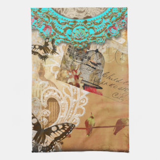 Pretty Lace Edge Vintage Butterfly Turquoise Sepia Towel