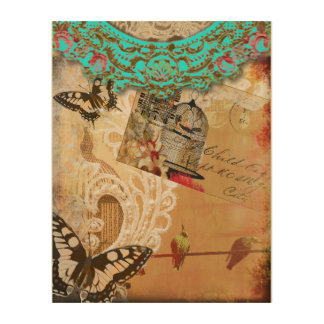 Pretty Lace Edge Vintage Butterfly Turquoise Sepia Wood Wall Decor