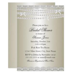 pretty lace pearl bridal shower invitation