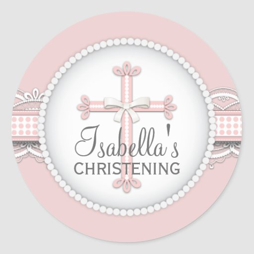 Pretty Lace Religious Celebration Cross in Pink Stickers