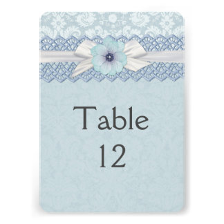 Pretty Lace Ribbon Blue Damask Table card