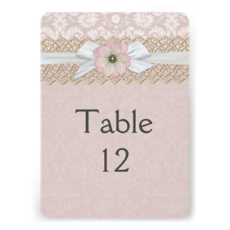Pretty Lace Ribbon Floral Damask Table card