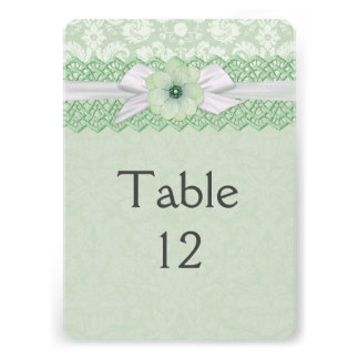 Pretty Lace Ribbon Green Damask Table card