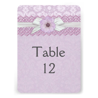 Pretty Lace Ribbon Lavender Damask Table card