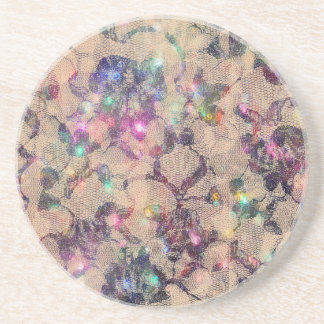Pretty Lace Roses Drink Coaster