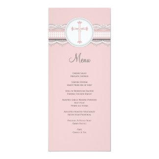 Pretty Lace w Cross Religious Celebration Menu Personalized Announcements