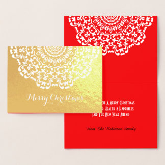 Pretty Lacy Flower Patterned  Merry Christmas Foil Card