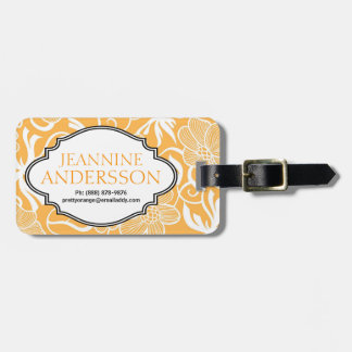 Pretty Ladies Orange White Tropical Floral Pattern Tag For Luggage