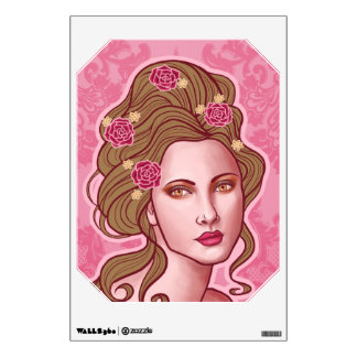 Pretty Lady Amelia with long brown hair Room Decal