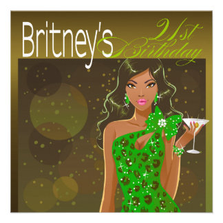 Pretty Lady Birthday Cocktail olive green Personalized Invitation