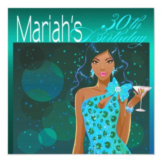Pretty Lady Birthday Cocktail Party teal/aqua Card