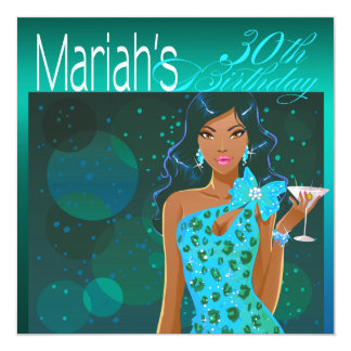 Pretty Lady Birthday Cocktail Party teal/aqua 5.25x5.25 Square Paper Invitation Card