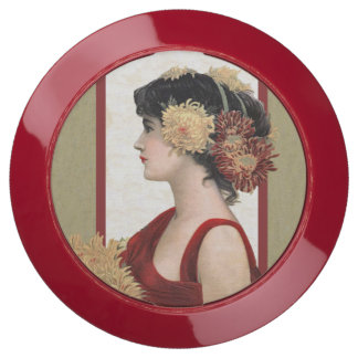 Pretty Lady Dressed in Red Big Flowers in Hair USB Charging Station