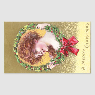 Pretty Lady in Holly Wreath with Red Bow Rectangular Sticker