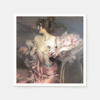 Pretty Lady Pink Vintage Fashion Antique Painting Paper Napkin