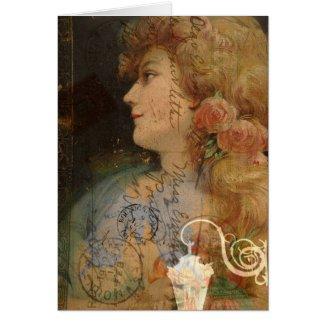 Pretty Lady Vintage Digital Collage card