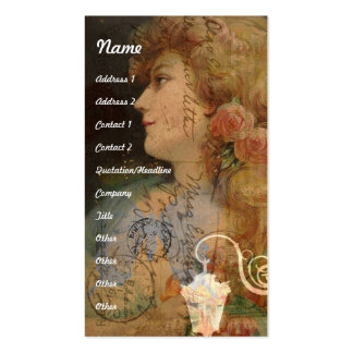 Pretty Lady Vintage Digital Collage Double-Sided Standard Business Cards (Pack Of 100)