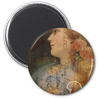 Pretty Lady Vintage Digital Collage Refrigerator Magnet
